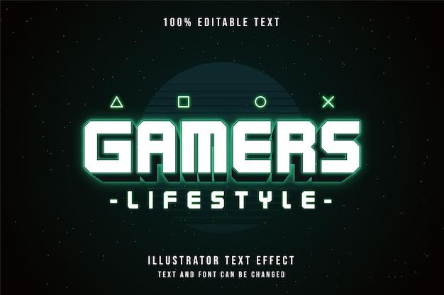 Stile di vita dei giocatori, stile di testo al neon con gradazione verde effetto testo modificabile 3d