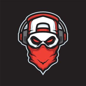 Logo della mascotte del cranio dei giocatori