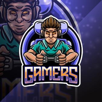 I giocatori sport mascotte logo design