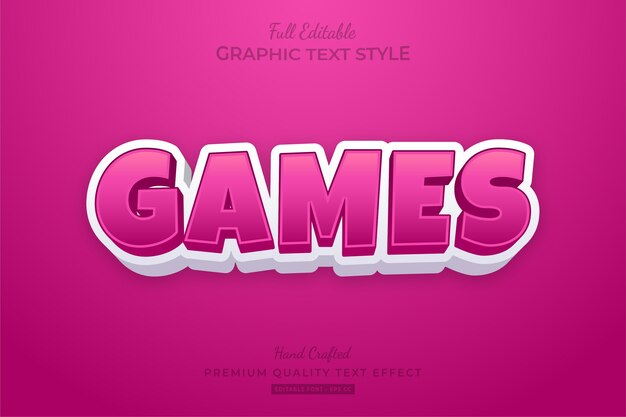 Giochi cartoon pink editable text style effect premium