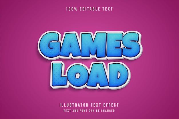 I giochi caricano, testo modificabile effetto blu gradazione fumetto ombra stile di testo