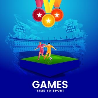Giochi time to sport concept con diversi giocatori che giocano