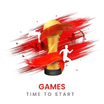 Tempo di giochi per iniziare il concetto con trofeo di calcio dorato ed effetto pennello rosso vari atletica leggera