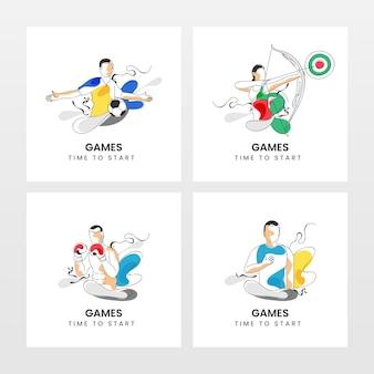 È ora di iniziare la progettazione di poster con atletica diversa senza volto in quattro opzioni.