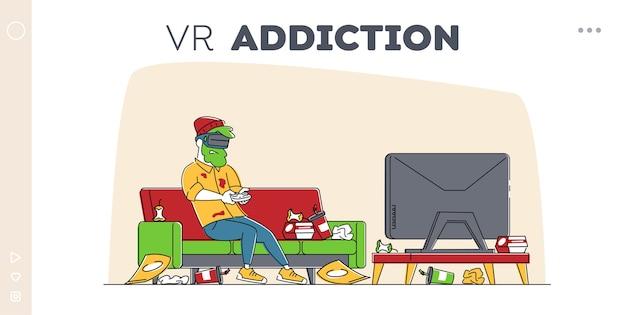 Dipendenza da gioco, modello di pagina di destinazione dell'hobby di simulazione di realtà virtuale. Vettore Premium