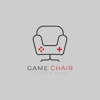 Logo della sedia da gioco e modello di design dell'icona
