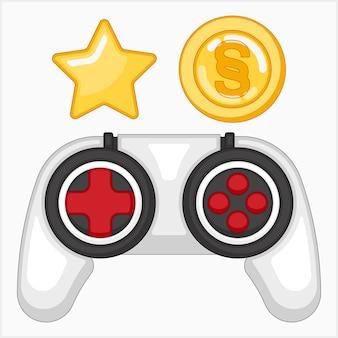 Illustrazione della console di gioco con stella e un set di monete coin