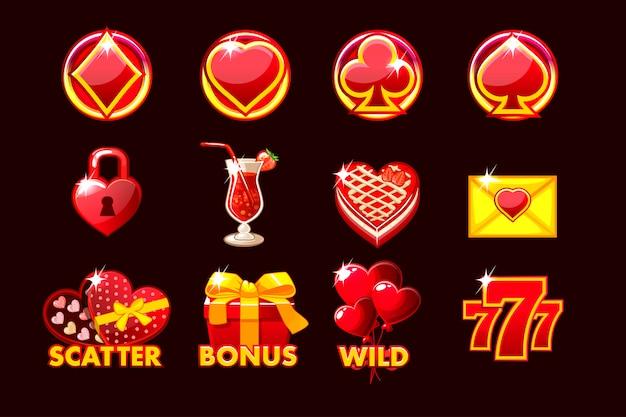 Icona di gioco dei simboli di san valentino per le slot machine e una lotteria o un casinò.