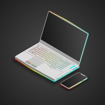 Computer portatile da gioco su colore bianco e smartphone