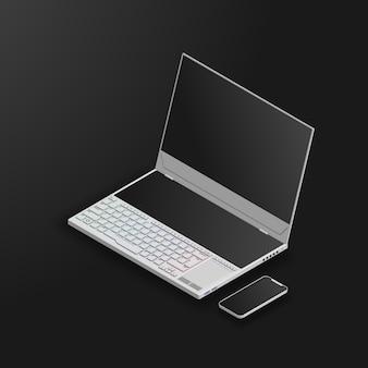 Computer portatile da gioco con doppio schermo e smartphone