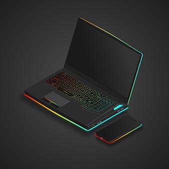 Computer portatile da gioco con colori al neon e smartphone
