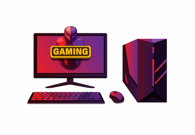 Set di computer di fascia alta per computer da gioco esport illustrazione vettoriale di attrezzature da gioco