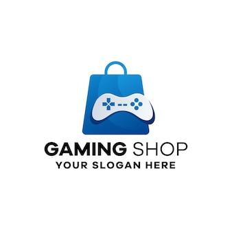 Modello di logo sfumato del negozio di giochi