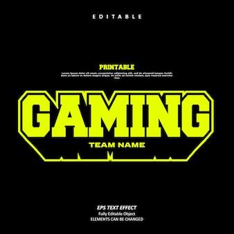 Logo del nome della squadra di gioco personalizza l'effetto del testo modificabile premium vettore premium