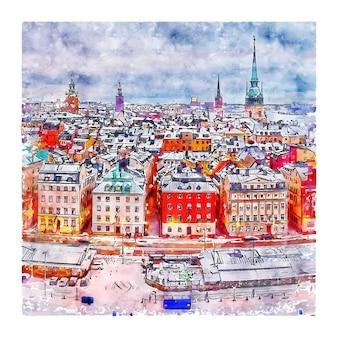 Illustrazione disegnata a mano di schizzo dell'acquerello di gamla stan stockholms lan svezia