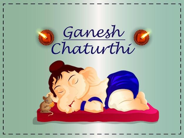 Fondo di celebrazione di ganesh chaturthi con illustrazione realistica