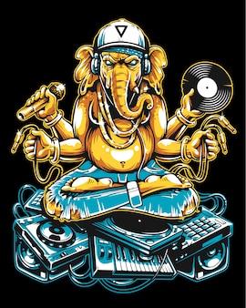 Ganesha dj seduto su roba musicale elettronica