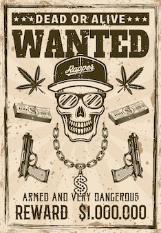 Cranio del rapper gangsta in berretto snapback e occhiali da sole con catena bling soldi voluto poster in stile vintage illustrazione vettoriale. texture e testo grunge separati a strati