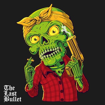 Illustrazione del cranio di gangsta