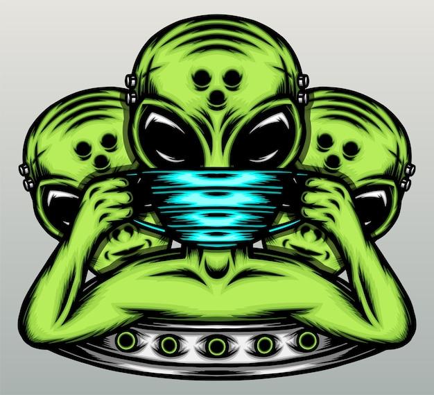 Alieno gangster che indossa una maschera.