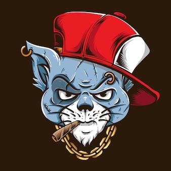 Gatto gangster con cappuccio rosso