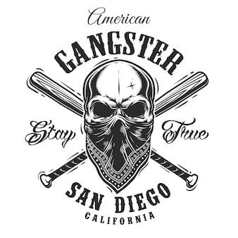 Emblema di gangster con teschio in bandana