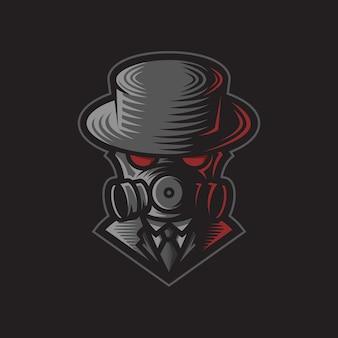 Logo illustrazione gangster con maschera antigas