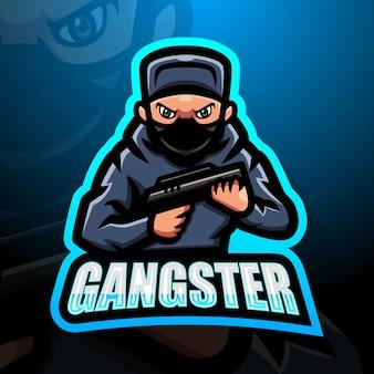 Illustrazione di esport mascotte gangster