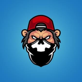 Logo mascotte testa di scimmia gangster