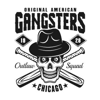 Cranio di gangster nell'emblema di mazze da baseball e cappello