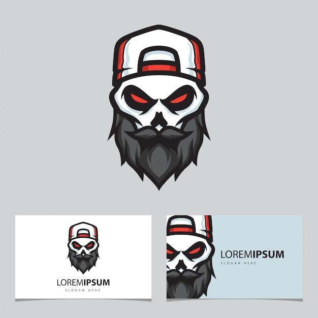 Logo della mascotte del teschio di gangster