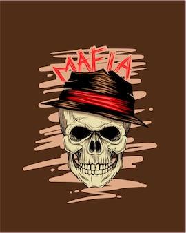 Cranio da gangster che indossa un cappello come un boss