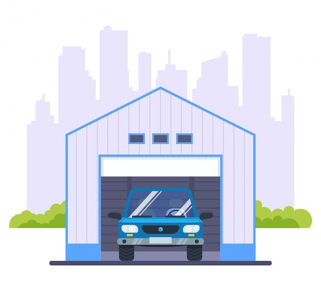 Garage per un'auto sullo sfondo della città. illustrazione piatta.