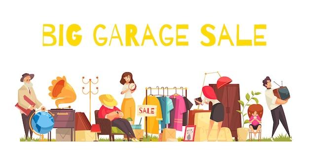 Concetto di vendita di garage con utensili per vestiti e mobili piatti