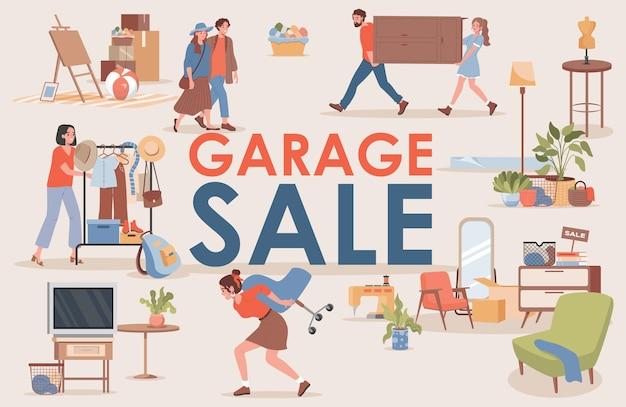 Modello di banner piatto di vendita di garage con lo spazio del testo