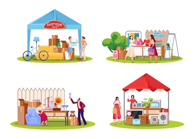 Set di illustrazioni piatte di vendita di garage