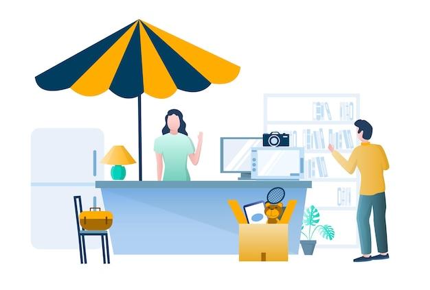 Vendo garage. donna che vende articoli sportivi usati, elettrodomestici, giocattoli, libri, illustrazione vettoriale. vendita all'aperto, mercato delle pulci.