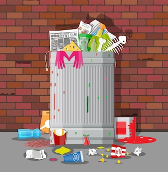 Bidone della spazzatura pieno di spazzatura. contenitore traboccante