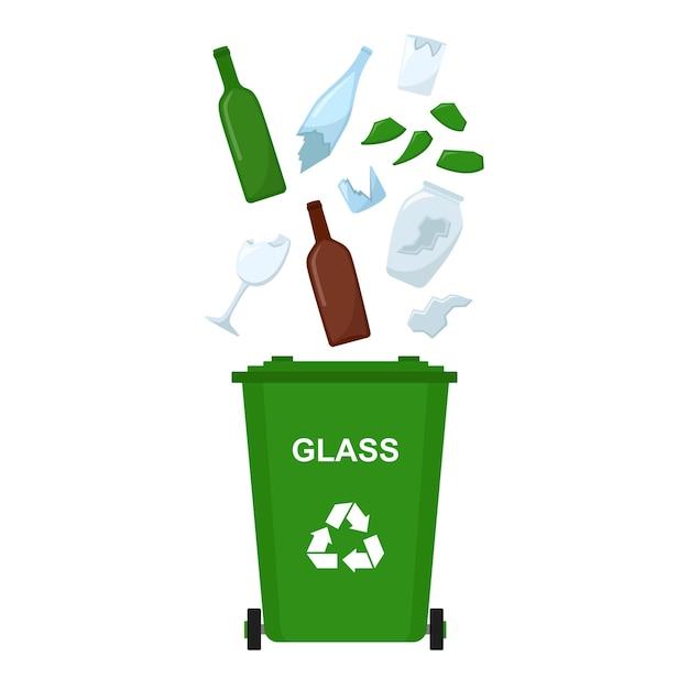 Bidone della spazzatura con rifiuti di vetro, riciclaggio dei rifiuti, illustrazione vettoriale