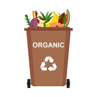 Bidone della spazzatura con rifiuti organici, riciclaggio dei rifiuti, illustrazione vettoriale