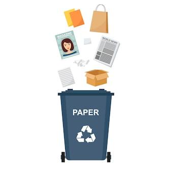 Bidone della spazzatura con rifiuti di carta, riciclaggio di rifiuti, illustrazione vettoriale