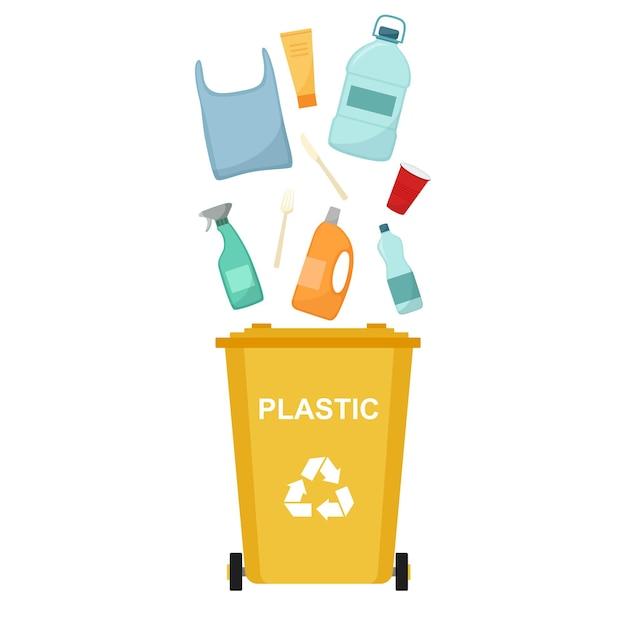 Bidone della spazzatura con rifiuti di plastica, riciclaggio dei rifiuti, illustrazione vettoriale