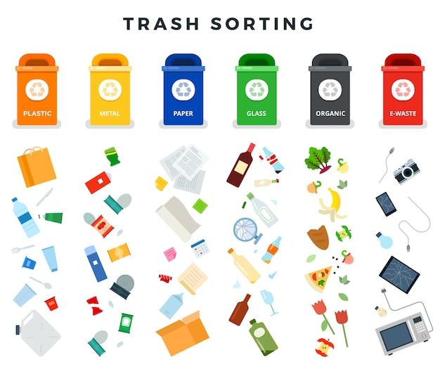 Bidoni della spazzatura con immondizia ordinata