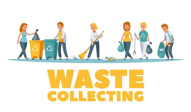 Illustrazione della composizione per la raccolta dei rifiuti