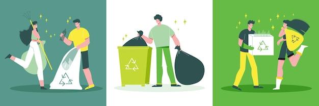 Immondizia raccolta riciclaggio concetto 3 illustrazione piatta