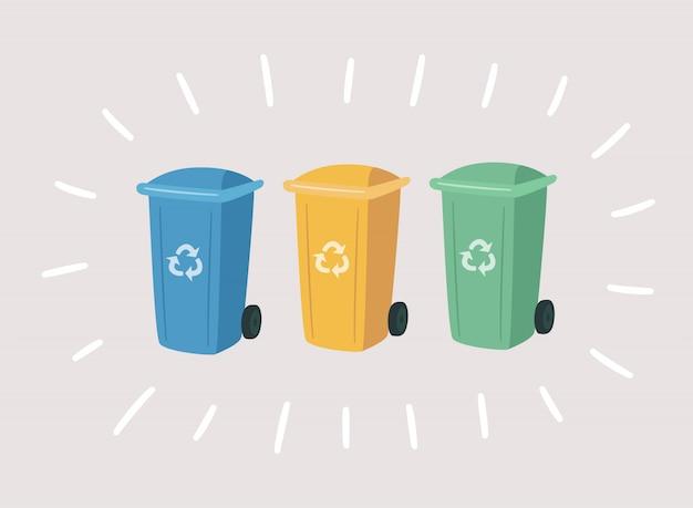 Bidoni della spazzatura colorati per rifiuti separati. contenitori per il riciclaggio della raccolta differenziata.