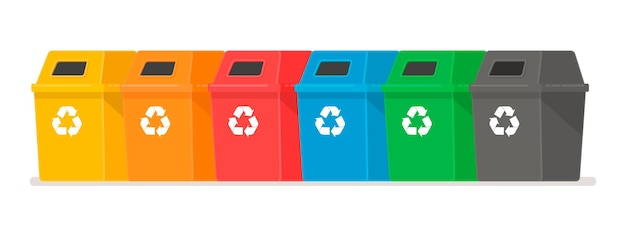 Contenitori per rifiuti. il concetto di raccolta differenziata. serbatoi multicolori ciascuno per il proprio tipo di spazzatura.