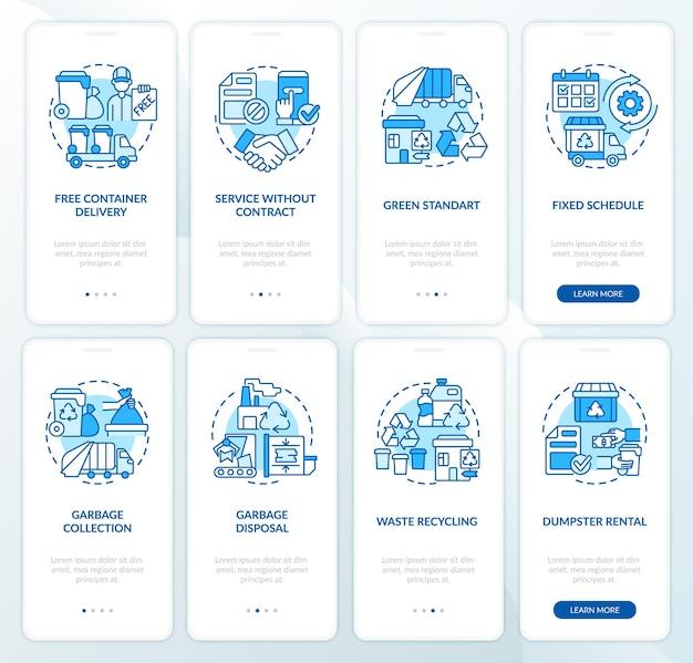 Set di schermate della pagina dell'app mobile di onboarding blu del servizio di gestione dei rifiuti. riciclo procedura dettagliata 4 passaggi istruzioni grafiche con concetti. modello vettoriale ui, ux, gui con illustrazioni a colori lineari