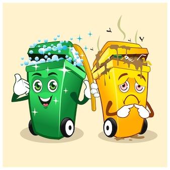 Fumetto della mascotte della spazzatura in vettoriale
