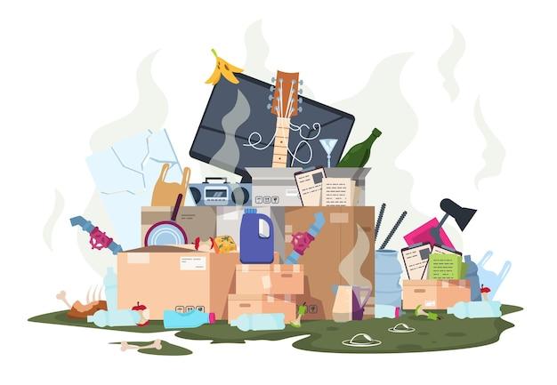 Mucchio di immondizia. pila sporca di plastica e organica di spazzatura puzzolente, metallo di carta e rifiuti alimentari isolati su sfondo bianco. illustrazione vettoriale isolato discarica spazzatura odore spazzatura